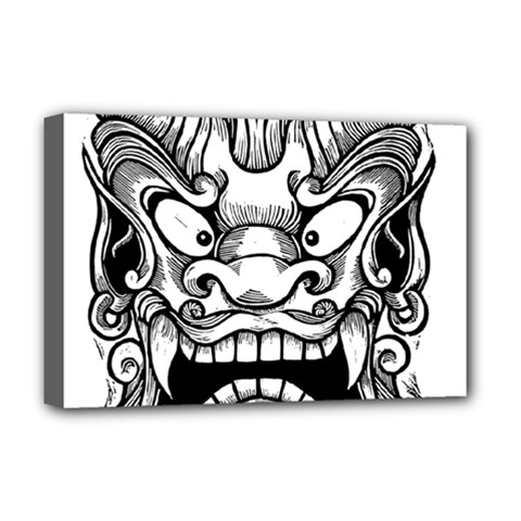 Japanese Onigawara Mask Devil Ghost Face Deluxe Canvas 18  X 12