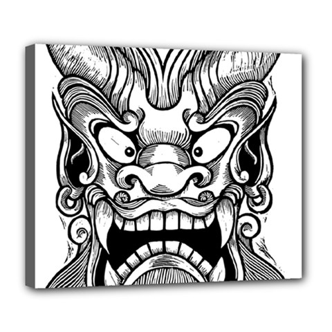 Japanese Onigawara Mask Devil Ghost Face Deluxe Canvas 24  X 20