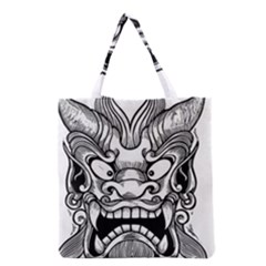 Japanese Onigawara Mask Devil Ghost Face Grocery Tote Bag