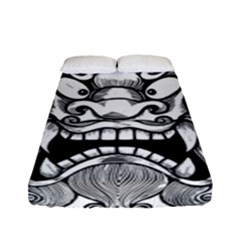 Japanese Onigawara Mask Devil Ghost Face Fitted Sheet (full/ Double Size)