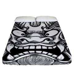 Japanese Onigawara Mask Devil Ghost Face Fitted Sheet (king Size)