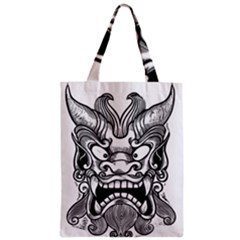 Japanese Onigawara Mask Devil Ghost Face Zipper Classic Tote Bag