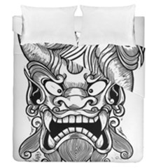 Japanese Onigawara Mask Devil Ghost Face Duvet Cover Double Side (queen Size)