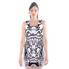 Japanese Onigawara Mask Devil Ghost Face Scoop Neck Skater Dress