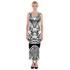 Japanese Onigawara Mask Devil Ghost Face Fitted Maxi Dress