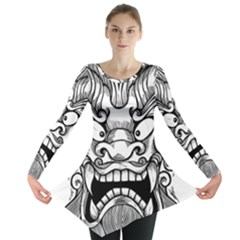Japanese Onigawara Mask Devil Ghost Face Long Sleeve Tunic