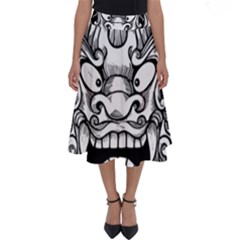 Japanese Onigawara Mask Devil Ghost Face Perfect Length Midi Skirt