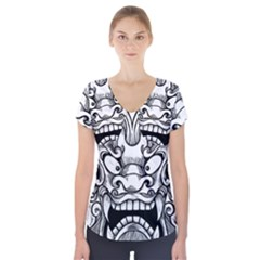 Japanese Onigawara Mask Devil Ghost Face Short Sleeve Front Detail Top