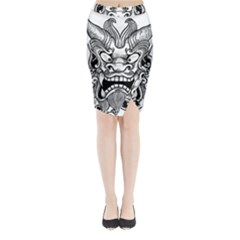 Japanese Onigawara Mask Devil Ghost Face Midi Wrap Pencil Skirt