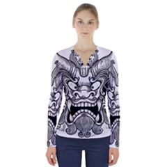 Japanese Onigawara Mask Devil Ghost Face V Neck Long Sleeve Top