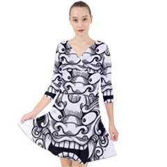 Japanese Onigawara Mask Devil Ghost Face Quarter Sleeve Front Wrap Dress