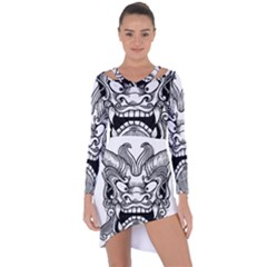 Japanese Onigawara Mask Devil Ghost Face Asymmetric Cut Out Shift Dress