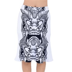 Japanese Onigawara Mask Devil Ghost Face Mermaid Skirt