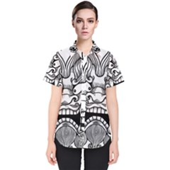 Japanese Onigawara Mask Devil Ghost Face Women s Short Sleeve Shirt