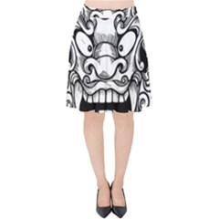 Japanese Onigawara Mask Devil Ghost Face Velvet High Waist Skirt