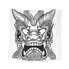 Japanese Onigawara Mask Devil Ghost Face Square Tapestry (small)