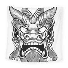 Japanese Onigawara Mask Devil Ghost Face Square Tapestry (large)