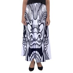 Japanese Onigawara Mask Devil Ghost Face Flared Maxi Skirt