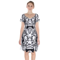Japanese Onigawara Mask Devil Ghost Face Short Sleeve Bardot Dress