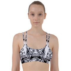 Japanese Onigawara Mask Devil Ghost Face Line Them Up Sports Bra