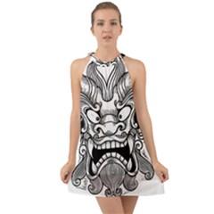 Japanese Onigawara Mask Devil Ghost Face Halter Tie Back Chiffon Dress