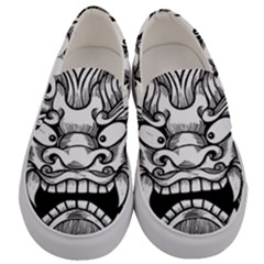 Japanese Onigawara Mask Devil Ghost Face Men s Canvas Slip Ons