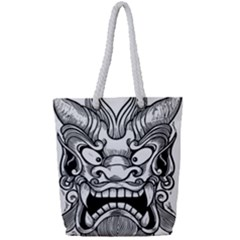 Japanese Onigawara Mask Devil Ghost Face Full Print Rope Handle Tote (small)