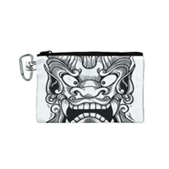 Japanese Onigawara Mask Devil Ghost Face Canvas Cosmetic Bag (small)