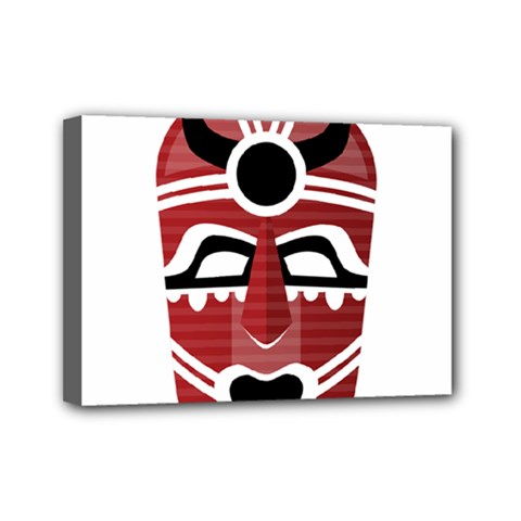 Africa Mask Face Hunter Jungle Devil Mini Canvas 7  X 5