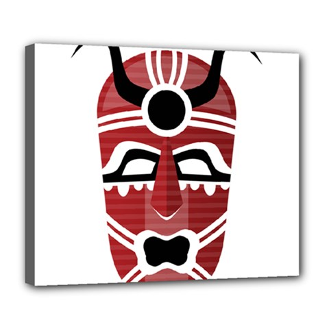 Africa Mask Face Hunter Jungle Devil Deluxe Canvas 24  X 20