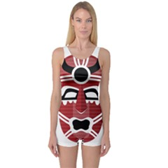 Africa Mask Face Hunter Jungle Devil One Piece Boyleg Swimsuit