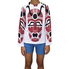 Africa Mask Face Hunter Jungle Devil Kids  Long Sleeve Swimwear