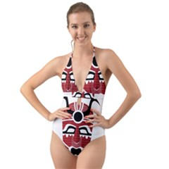 Africa Mask Face Hunter Jungle Devil Halter Cut Out One Piece Swimsuit