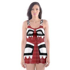 Africa Mask Face Hunter Jungle Devil Skater Dress Swimsuit