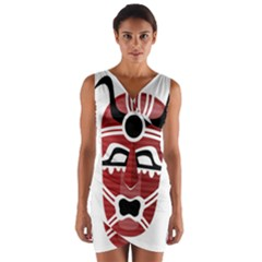 Africa Mask Face Hunter Jungle Devil Wrap Front Bodycon Dress