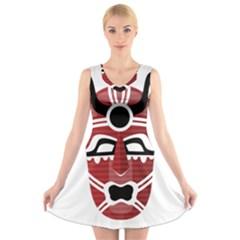 Africa Mask Face Hunter Jungle Devil V Neck Sleeveless Skater Dress