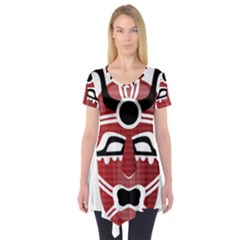 Africa Mask Face Hunter Jungle Devil Short Sleeve Tunic