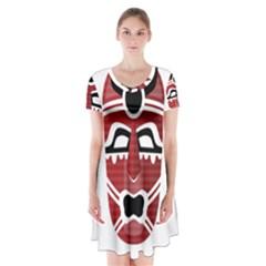 Africa Mask Face Hunter Jungle Devil Short Sleeve V Neck Flare Dress