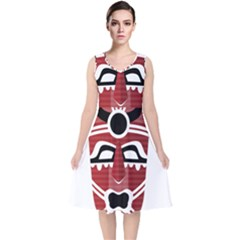 Africa Mask Face Hunter Jungle Devil V Neck Midi Sleeveless Dress