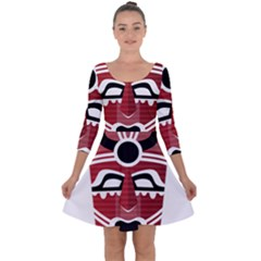 Africa Mask Face Hunter Jungle Devil Quarter Sleeve Skater Dress