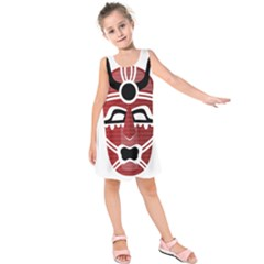 Africa Mask Face Hunter Jungle Devil Kids  Sleeveless Dress