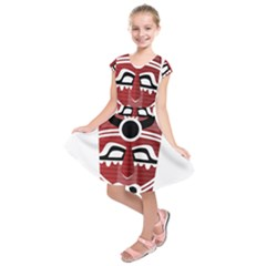 Africa Mask Face Hunter Jungle Devil Kids  Short Sleeve Dress