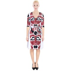 Africa Mask Face Hunter Jungle Devil Wrap Up Cocktail Dress