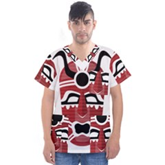 Africa Mask Face Hunter Jungle Devil Men s V Neck Scrub Top