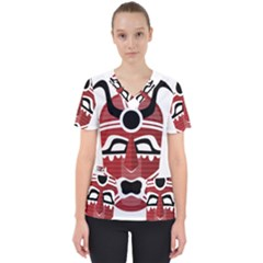 Africa Mask Face Hunter Jungle Devil Scrub Top