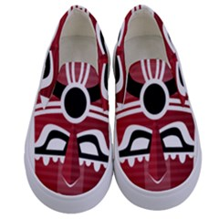 Africa Mask Face Hunter Jungle Devil Kids  Canvas Slip Ons