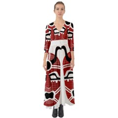 Africa Mask Face Hunter Jungle Devil Button Up Boho Maxi Dress