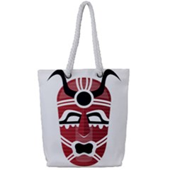 Africa Mask Face Hunter Jungle Devil Full Print Rope Handle Tote (small)