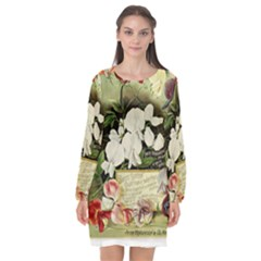 Flowers 1776617 1920 Long Sleeve Chiffon Shift Dress