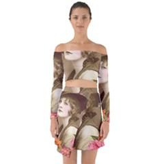 Vintage 1646083 1920 Off Shoulder Top With Skirt Set